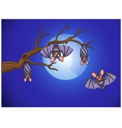 Adorable bat cartoon sleeping and fly at night vector