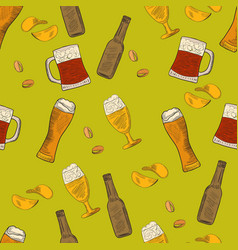 Beer hand-drawn doodle seamless pattern vector