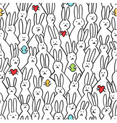 funny bunny seamless pattern of cute vector image vector image
