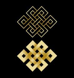 gold endless knots vector image vector image