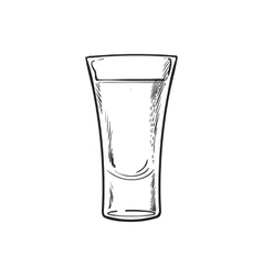 Hand drawn glass full of tequila isolated vector image vector image