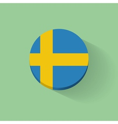 Round icon with flag of Sweden vector image vector image