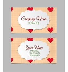 Visiting card with hand drawn hearts vector image