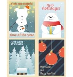 Winter postcards set vector image
