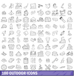100 outdoor icons set outline style vector image