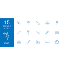 15 brush icons vector