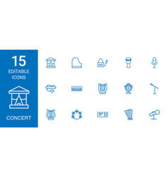 15 concert icons vector image