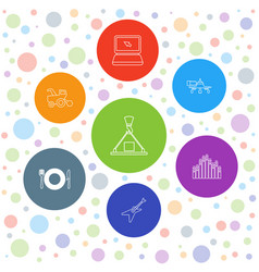 7 equipment icons vector image