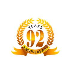 92 years ribbon anniversary vector