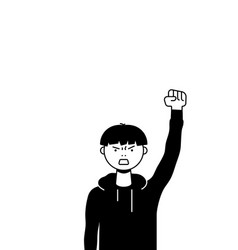 a man protests with raised up fist screaming vector image