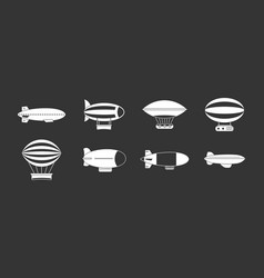 air ship icon set grey vector image
