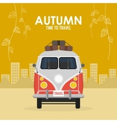 Autumn time family travel and trip vector