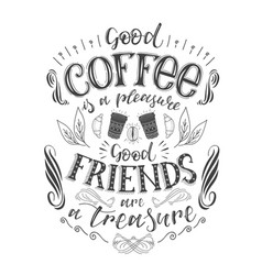Banner of coffee with handlettering poster with vector