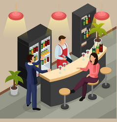 Bar restaurant isometric background vector