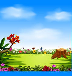 Beautiful view with the blue sky and garden vector
