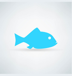 blue fish icon on white background vector image