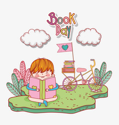 boy read books with bicycle and clouds vector image