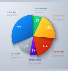business 3d pie info chart for presentation and vector image