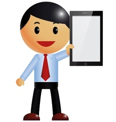 Businessman and smart phone vector
