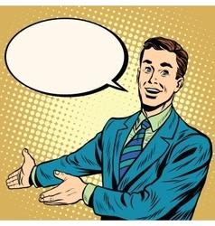Businessman promo poster pop art retro vector