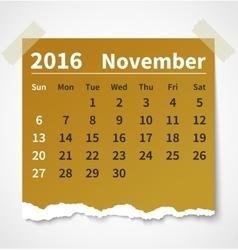Calendar november 2016 colorful torn paper vector image