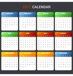 Calendar Template for 2017 year vector