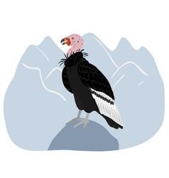 California condor sitting on a blue mountain vector