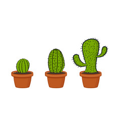 cartoon cactus collection vector image