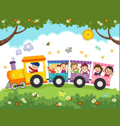 Cartoon happy kids with train vector