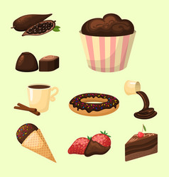 chocolate various tasty sweets and candies sweet vector image