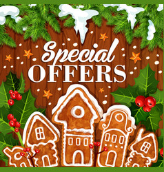 Christmas holiday sale promo cookie poster vector