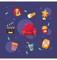 Cinema Related Objects Collection vector image