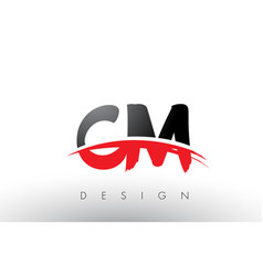 Cm c m brush logo letters with red and black vector