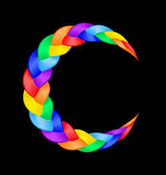 Colorful pigtail curly wavy rainbow moon symbol vector