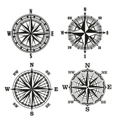 compass dials vintage navigation elements vector image