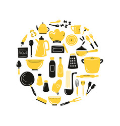 cooking hand drawn abstract design with kitchen vector image