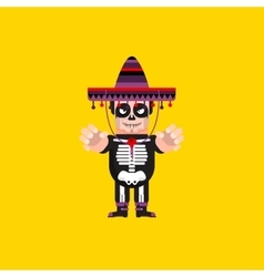 Dead Mexican character for halloween in a flat vector image