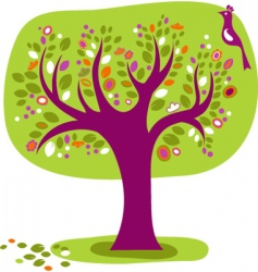 decorative tree with a bird vector image