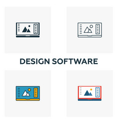 design software icon set four elements in vector image