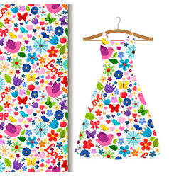 Dress fabric pattern with spring pattern vector