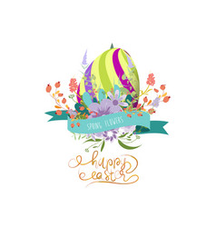 easter greeting with eggs and flowers vector image