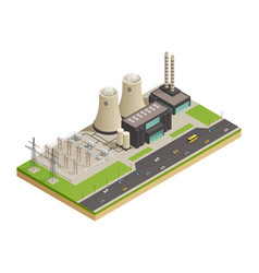 Electric power generators isometric composition vector
