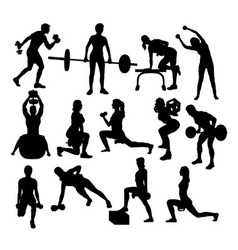Fitness Gym Sport Activity Silhouettes vector