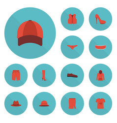 Flat icons lingerie boots hat and other vector