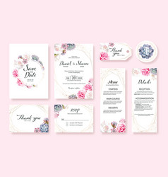 floral wedding invitation card template vector image