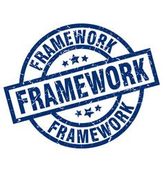Framework blue round grunge stamp vector