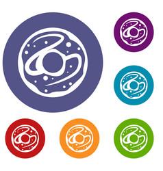 glazed donut icons set vector image