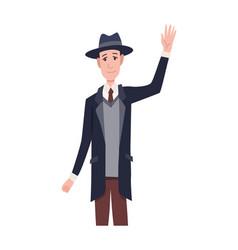 Greeting gesture men waving his hand character vector