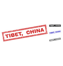 Grunge tibet china scratched rectangle watermarks vector