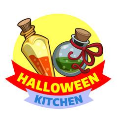 Halloween kitchen logo cartoon style vector